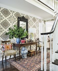 Eclectic Multi-Colored Foyer with Patterned Wallpaper | LuxeSource | Luxe Magazine - The Luxury Home Redefined
