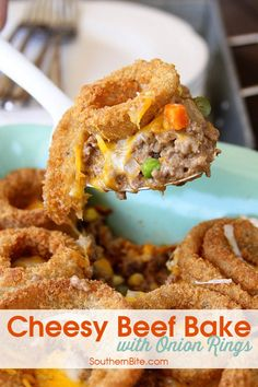 This Cheesy Beef Bake with Onion Rings is a delicious twist on the Classic Tater Tot Casserole!
