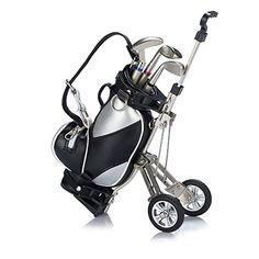 Golf Gift Mini Office Golf Pen Holder with 3 Sets Aluminum Alloy Golf PensTop Dad Gift Golf Souvenir For GolferFatherMenBoyfriendHusband silvery and black ** Click on the image for additional details.