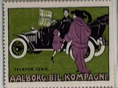 early automobile poster stamp