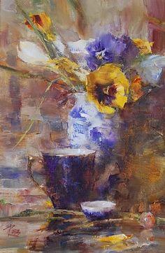 Pansies by Laura Robb Oil ~ 12 x 8