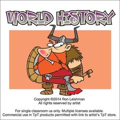 History need not be dry and these toons will inject some much needed humor into your lessons. World History includes 18 unique cartoon images of famous folk from vikings to Shakespeare All images come in full color as well as black and white line art for a total of 36 images in eps, jpeg and png formats.