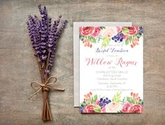 Garden Floral Watercolor Invitation Bridal by LittlePaperMama