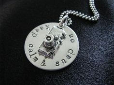 Snap On Necklace Sterling silver disk with camera by magpiedesignz, $56.00