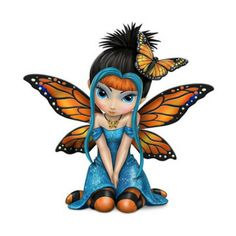 Butterfly Kisses Fairy. www.teeliesfairygarden.com. . . Dressed like her monarch butterfly spirit from her burnt orange and black wings to her butterfly necklace, this sweet butterfly kisses fairy is ready to bring a little bit of her fairy fashion and butterfly wishes into your fairy garden. #strangelingfairy