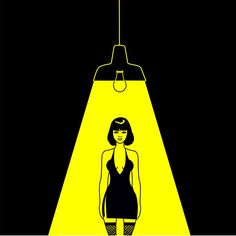 Shadows can't enter here  #graphicillustration #vector #womaninblack #blackandyellow #sexygirl