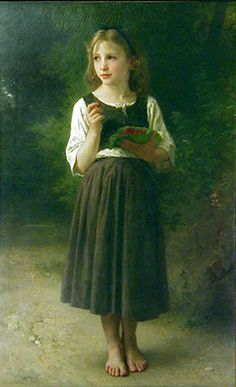 Raspberry Girl by Adolphe William Bourguereau. William Adolphe Bouguereau, Most Popular Artists, Academic Art, Victorian Art, Old Paintings, Classical Art, French Artists, Art For Kids, Fine Art