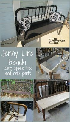 Lind Bed Bench My Repurposed Life pieced together this puzzle bench using a Jenny Lind bed, and random bed and crib parts Crib Bench, Headboard Benches, Bed Frame Bench, Refurbished Furniture, Repurposed Furniture, Furniture Makeover, Antique Furniture, Reuse Furniture, Industrial Furniture