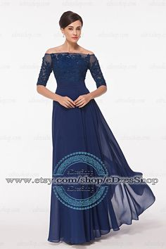 Possible mother of the bride/groom dress? 3/4 Sleeves Modest Evening Dress Dark Blue Prom Dress by eDresShop