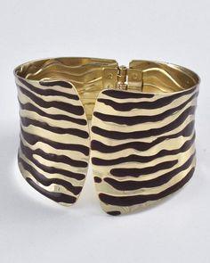 Gold Tone / Brown Epoxy / Lead Compliant / Metal / Fold-over / Zebra Print / Bracelet