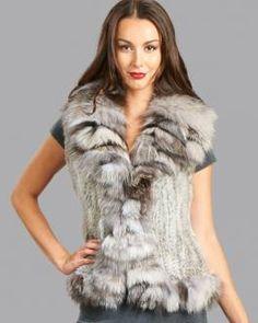 Knit Rabbit Fur Vest with Silver Indigo Fox Fur Collar and Trim