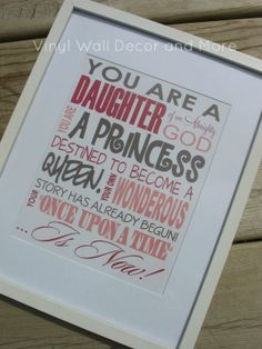 Princess Print Daughter of God van VinylWallDecorandMor op Etsy