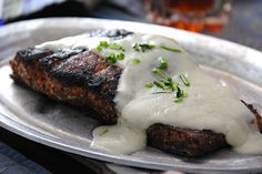 Nordic Blackened Salmon topped with Danish Blue Cheese Crème Sauce – 30AEATS