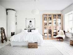 cool 45 Lovely Scandinavian Bookcases to Get Inspired Scandinavian Interior Bedroom, Home Interior, Scandi Bedroom, Ideas Hogar, Home Fashion, My New Room, House Rooms, Home Bedroom, Home Decor