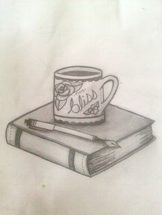Coffee and books tattoo sketch