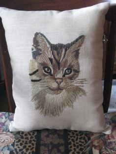 Sweet Little Cat Pillow made from Vintage Crewel by jonscreations