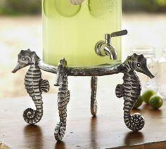 seahorse drink dispenser stand--perfect for seaside-themed summer beverages!