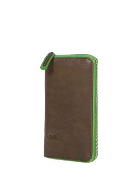 Geldbörsen :: LINO :: L2 | ZWEI Taschen Portemonnaie :: braun :: grün :: Reißverschluss :: Leder