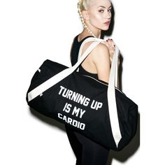 Private Party Turning Up Is My Cardio Gym Bag ($80) ❤ liked on Polyvore featuring bags, handbags, tote bags, canvas tote bag, canvas purse, canvas tote handbags, canvas handbags and tote purse