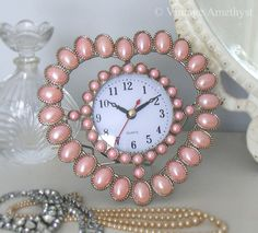 Pink pearly heart clock. VintageAmethyst