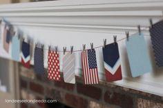 4th of July Mantel- Garland DIY tutorial - America the Beautiful - landeelu.com
