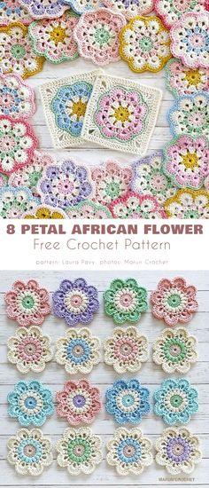 Crochet Flower Squares, Crochet African Flowers, Crochet Ripple, Crochet Quilt, Granny Square Crochet Pattern, Flower Granny Square, Granny Squares, Crochet Flower Tutorial, Crochet Motif Patterns