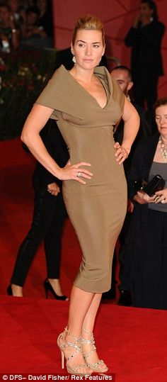 Kate Winslet working it in a taupe Victoria Beckham design <3 girl looks FAB!