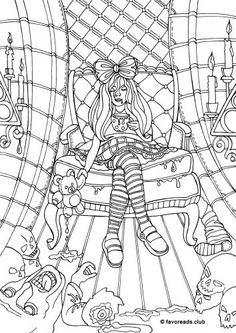 Frightening Weirdo Is Relaxing After Her Wicked Games FREE Horror Coloring Page