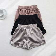 Comfort and Style All In One The Serena Satin Short . Satin Shorts, Sexy Shorts, Yoga Shorts, Short Shorts, Teen Fashion Outfits, Womens Fashion, Jolie Lingerie, Cute Comfy Outfits, Sleepwear Women