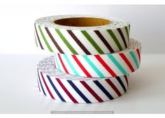 Diagonal Stripe Cotton Fabric Tape - Decorative Tape