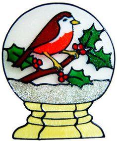 Handmade Peelable Decoration - Robin in Snow Globe