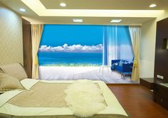 Blue Sky Blue Sea Wall Paper Wall Print Decal Wall Deco Indoor wall Mural wallpaper