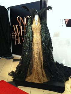 Gold dress and raven feather cloak