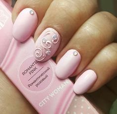 Romantic Pink Nail Enamel by City Woman with an elegant swirl design to match beautiful baby pink enamel color.