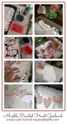 Have you done any crafting for Valentine's Day yet?  Try this fun and sensory Valentine craft with the kids: a Marbled Heart Garland using shaving cream from B-InspiredMama.com.