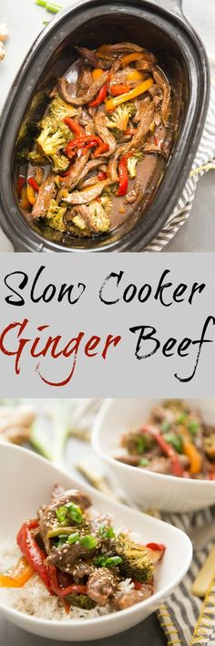 Saucy ginger beef is easy when made in the slow cooker! This simple recipe has amazing flavor the whole family will love! via @Lemonsforlulu