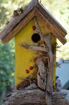 SOLD Rustic Birdhouses  Yellow Country by BirdhousesByMichele, $75.00 These birdhouses are going fast. Just made this and now it's got a new home in Forest Falls