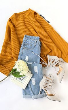 Yellow Cut Out Slit Side Cuffed Sweater