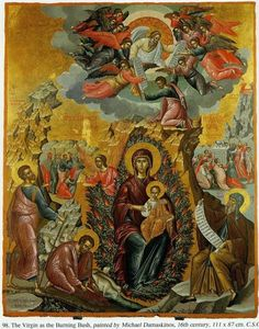 This icon portrays the Theotokos holding the Christ Child in the first Burning Bush, that which the Prophet Moses saw. Around the Theotokos and her Son are many Byzantine Icons, Byzantine Art, Religious Icons, Religious Art, The Holy Mountain, Prayer Corner, Burning Bush, Orthodox Christianity, Orthodox Icons