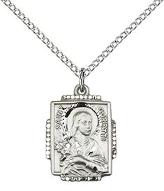 "F A Dumont Sterling Silver St. Maria Goretti Pendant with 18"" Stainless Steel Lite Curb Chain. Patron Saint of Teenage Girls"