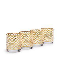Gold Chevron Glassware