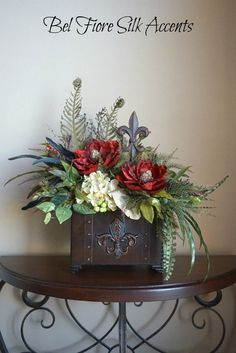 Tuscan Decor, Silk Flower Arrangement, Dining Table, Centerpiece with Red and Cream Fleur De Lei Metal Trunk Floral Arrangement
