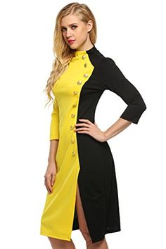 Zeagoo Women Collar High 3/4 Sleeve Button Decor Side Split Wear to Work Dress -- Check out this great image @
