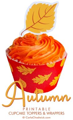 Printable Autumn Leaf Cupcake Toppers and Wrappers from the Kindle Book *Printable Year-Round Cupcake Toppers and Wrappers* | Includes downloadable files, instructions and tips for embellishment       #Fall #Autumn #FallFoodIdeas #FallCupcakeIdeas #CupcakeIdeas #CupcakeToppers #CupcakeDecorations #CarlaChadwick Party Printables, Gift Bags, Cupcake Toppers, Fall Recipes, Autumn Leaves, Party Invitations, Kindle, Birthdays, Cupcakes