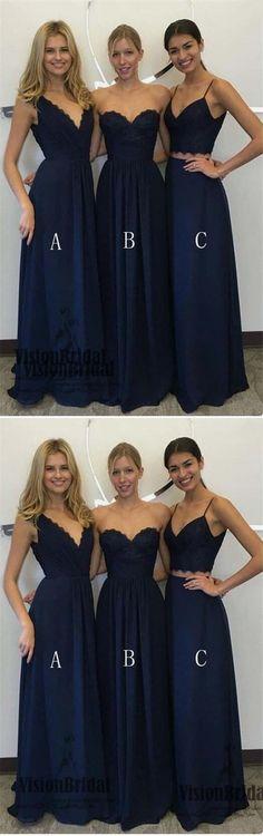Dark Blue Mismatched Simple A-Line Floor Length Bridesmaid Dress, Charming Bridesmaid Dresses, VB0416 #bridesmaiddresses