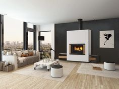 What fireplace or wood stove for a modern living room? - New Deko Sites Fireplace Console, Fireplace Design, Fireplace Surrounds, Living Room Carpet, Interior Design Living Room, New Homes, Home Decor, Modern Living, Banquettes