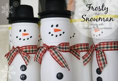 DIY Frosty the Snowman made with Gerber Puffs Containers