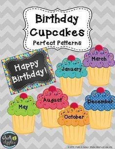 """Use these adorable cupcakes to create a birthday display on your wall, door, or bulletin board. Includes one-page sized cupcakes for each month, a """"Happy Birthday"""" heading, and a bonus birthday page perfect for your teacher binder. *****************************************************************************You may also likeEditable Teacher Toolbox Labels - Perfect PatternsEditable Teacher Planner - Perfect PatternsTeacher's Helper FlipBooks for Back to School, Substitutes, and…"""
