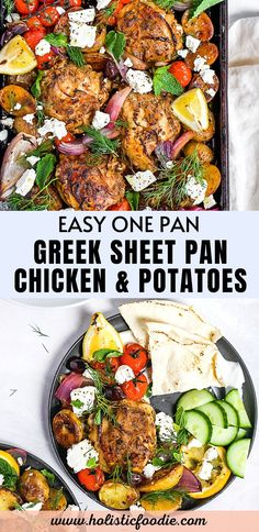 This Greek sheet pan chicken with potatoes and lemon is an easy weeknight dinner that's full of flavor. Top it with fresh herbs and feta. Plus it's all made in one pan, perfect for meal prep too! Easy One Pot Meals, Easy Weeknight Dinners, Healthy Chicken Recipes, Cooking Recipes, Intuitive Eating, Healthy Meal Prep, Fresh Herbs, Sheet Pan, Have Time