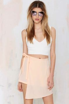 Side With Me Asymmetric Skirt - Nude